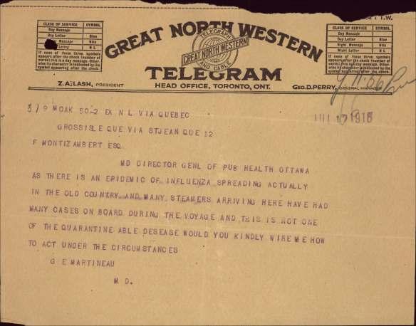 Copie d'un télégramme portant sur la grippe espagnole.
