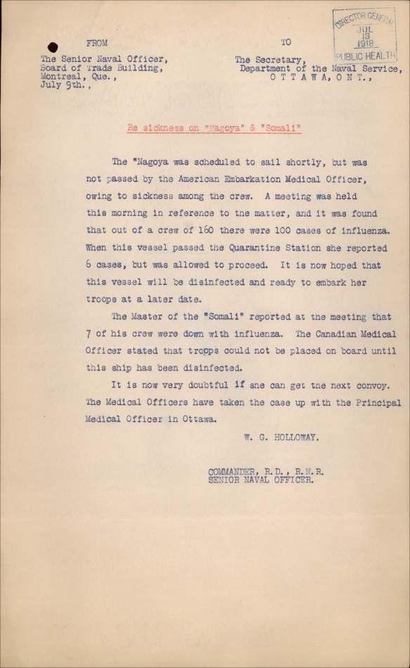 Une lettre dactylographié portant sur la grippe espagnole