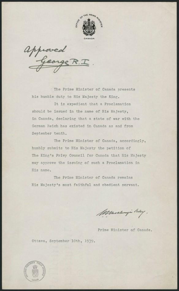Document dactylographié d'une page, daté du 10 septembre 1939 et demandant au roi d'autoriser le Canada à émettre une proclamation pour déclarer la guerre au Reich allemand.