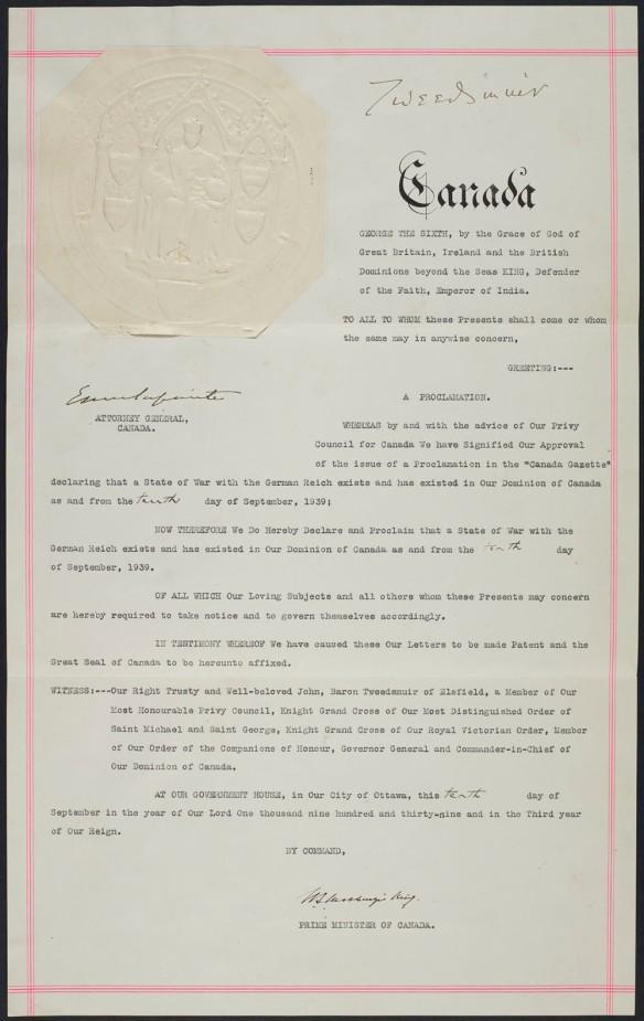 Proclamation portant le Grand sceau du Canada, annonçant que le Canada est en guerre contre le Reich allemand.