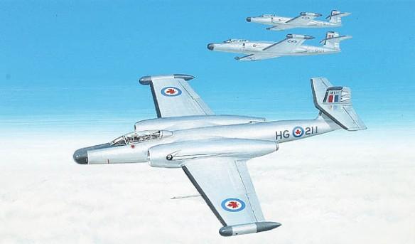 Illustration couleur d'un avion survolant des nuages; deux autres avions semblables volent en formation à l'arrière-plan.