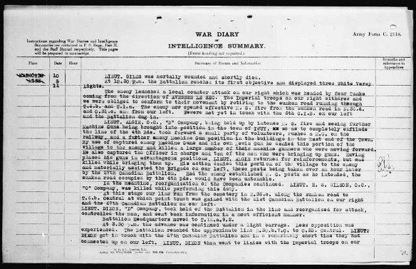 Page dactylographiée décrivant ce qui s'est passé du 10 au 11 octobre 1918.