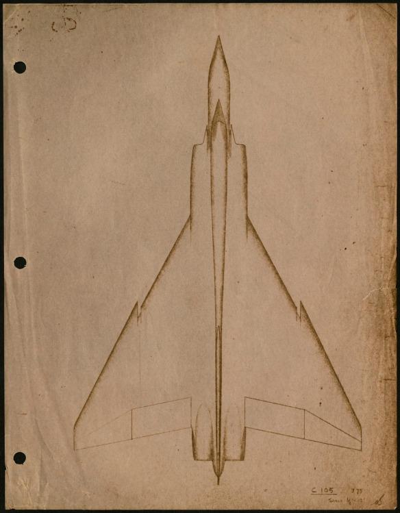 Esquisse du contour d'un avion à l'allure futuriste.
