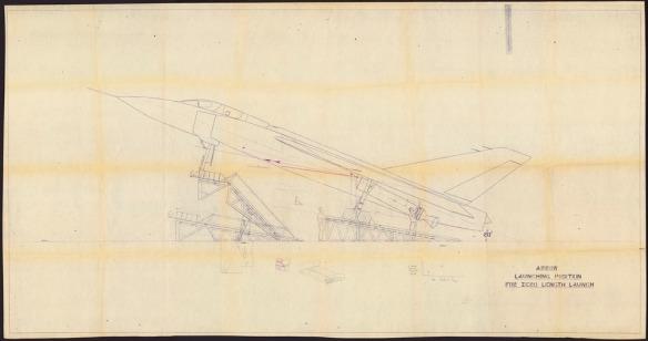 Dessin technique détaillé d'un avion en position de lancement.