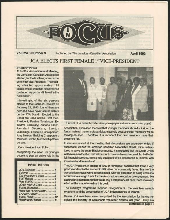 La page principale d'un bulletin de nouvelles imprimé. Le titre principal est : « JCA elects first female 1st Vice-President » [La JCA élit pour la première fois une femme comme première vice-présidente].