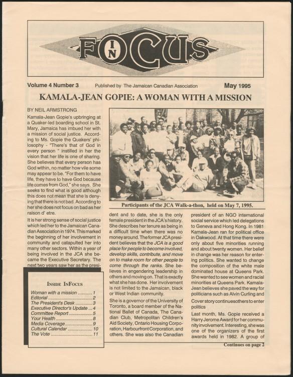 La page principale d'un bulletin de nouvelles imprimé. Le titre est : « Kamala-Jean Gopie: A woman with a mission » [Kamala-Jean Gopie : une femme investie d'une mission].
