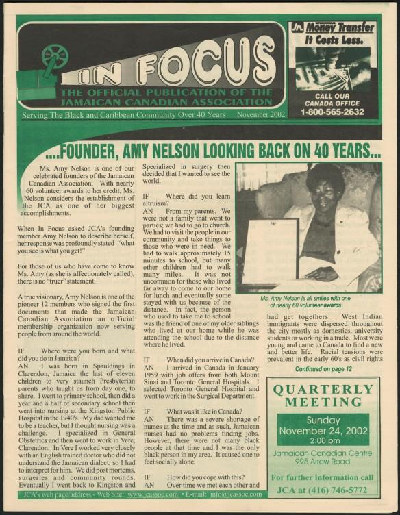 La page principale d'un bulletin de nouvelles imprimé en noir et vert. Le titre principal est « …founder, Amy Nelson looking back on 40 years… » [...la fondatrice Amy Nelson revient sur les 40 dernières années…].