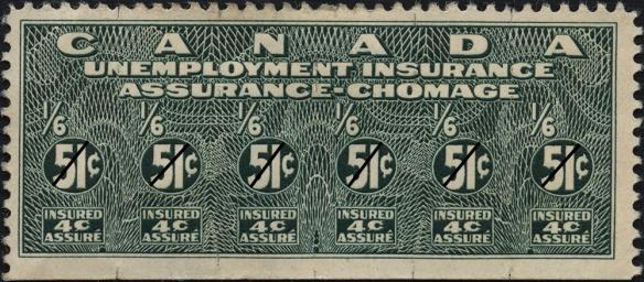 Une photographie couleur d'un timbre d'assurance-chômage vert.