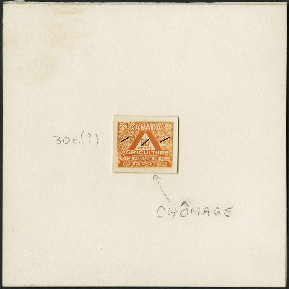 Une photographie couleur d'une épreuve d'un timbre orange pour l'agriculture.