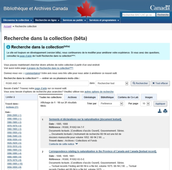 Saisie d'écran en couleur des résultats d'une recherche; le titre de la page est « Recherche dans la collection (bêta) ».