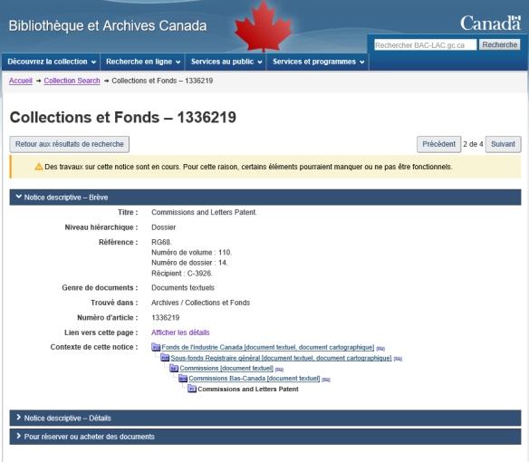 Saisie d'écran en couleur des données se trouvant sur la page « Collections et fonds – 1336219 ».