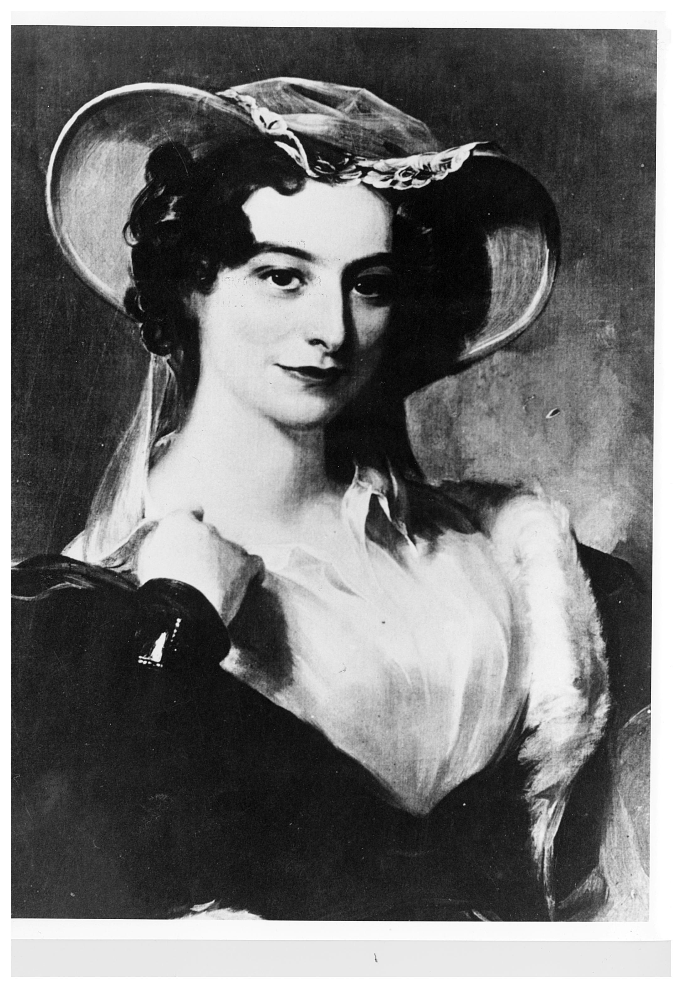Peinture noir et blanc d'une jeune femme portant des vêtements d'époque à la mode.
