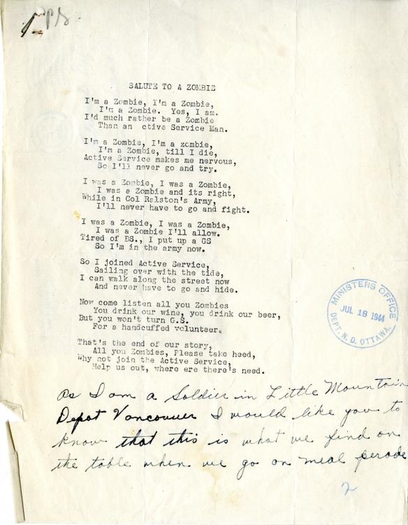 Poème dactylographié, avec l'empreinte d'un timbre de caoutchouc sur le côté et du texte manuscrit au bas.