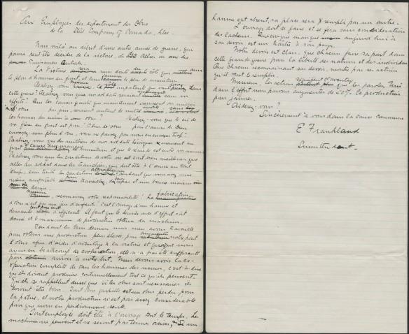 Lettre manuscrite écrite par E. Frankland, surintendant, à l'intention des employés du département des obus de la Stelco.