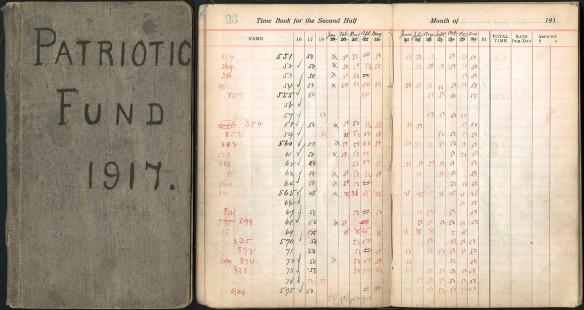 Page couverture, en noir et blanc, et pages 23 et 24, en noir et rouge, d'un registre indiquant les sommes versées au Fonds patriotique canadien.