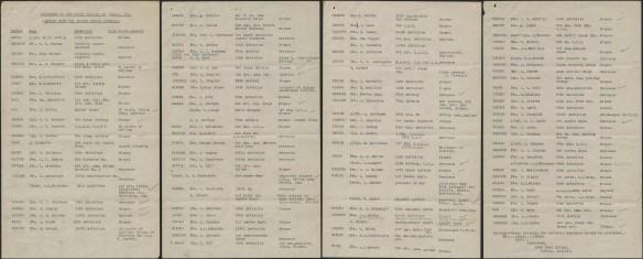 Quatre pages dactylographiées listant les ouvriers de la Stelco envoyés au combat pendant la Première Guerre mondiale, de 1914 à 1918.