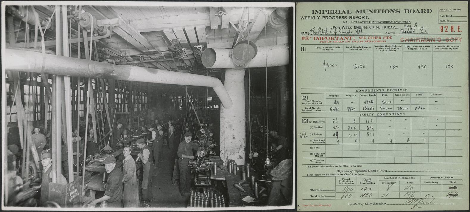 À gauche, photographie noir et blanc d'ouvriers travaillant dans une chaîne de fabrication d'obus. À droite, formulaire bleu de la Commission impériale des munitions montrant les progrès réalisés par une chaîne de production au cours d'une semaine donnée.