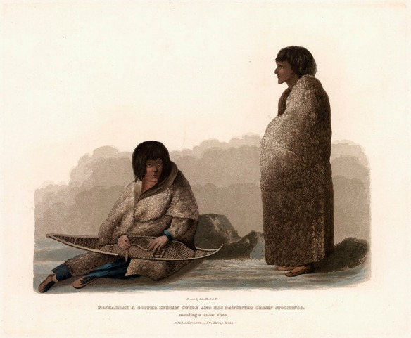 Lithographie couleur d'une femme assise par terre en train de réparer une raquette, avec un homme debout à droite. Les deux sont entièrement vêtus de peaux.
