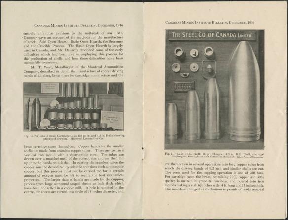 Deux pages imprimées de la revue Canadian Mining Institute contenant des photographies noir et blanc d'obus produits par la Stelco.