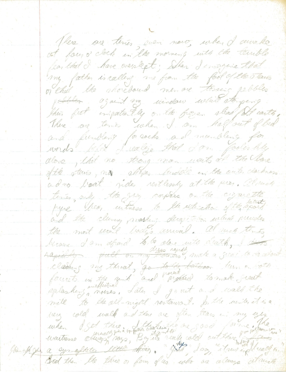 Une première page manuscrite de The Boat.