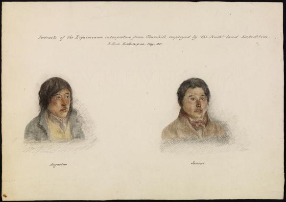 Aquarelle représentant deux jeunes hommes inuits portant des vêtements occidentaux. Ils se font appeler Augustus et Junius.