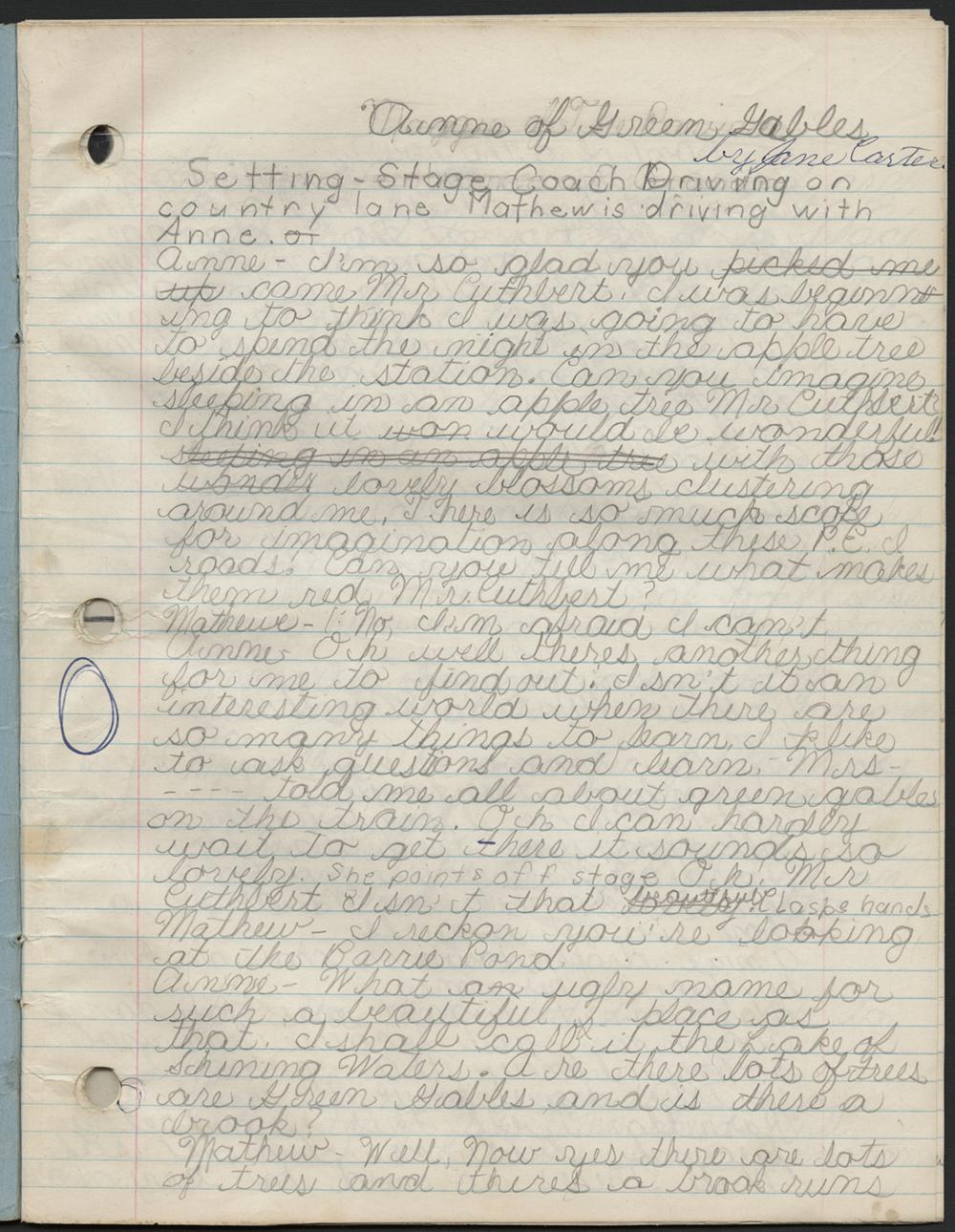 Un carnet comprenant une adaptation pour le théâtre écrite au crayon d'Anne... la maison aux pignons verts.