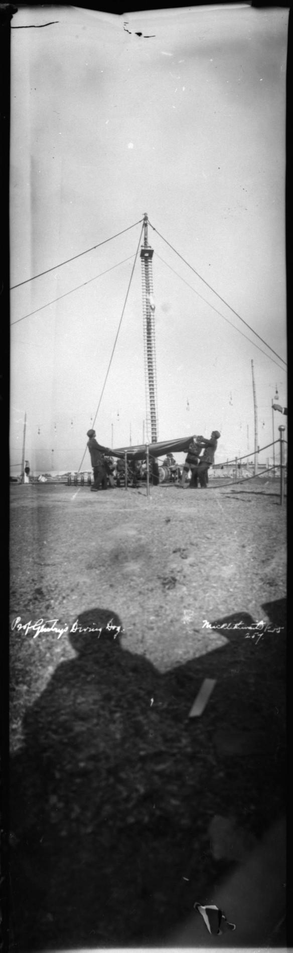 Photo noir et blanc d'un chien de cirque sautant d'une plateforme au sommet d'un très long poteau; au sol, quatre hommes tendent une grande couverture pour l'attraper.