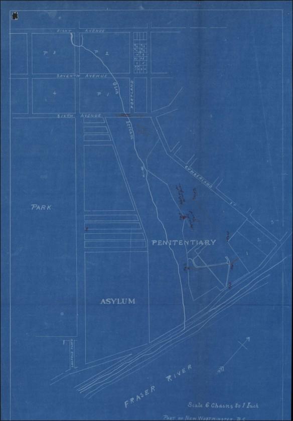 Carte sur fond bleu indiquant l'emplacement du pénitencier, d'un asile, des rues environnantes, d'un parc et du fleuve Fraser. Des notes montrent la clôture par où Miner s'est évadé et fournissent d'autres détails sur les environs.