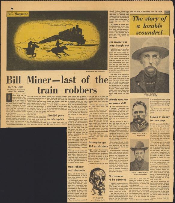 Page de journal contenant du texte, une illustration de deux hommes armés à cheval s'approchant d'un train, un portrait de l'auteur et des photographies de Bill Miner, Shorty Dunn et Lewis Colquhoun.