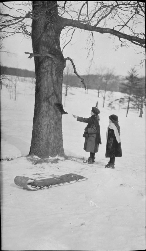 Photographie noir et blanc de deux jeunes filles debout près d'un arbre, en hiver. Une des jeunes filles nourrit un écureuil accroché au tronc.
