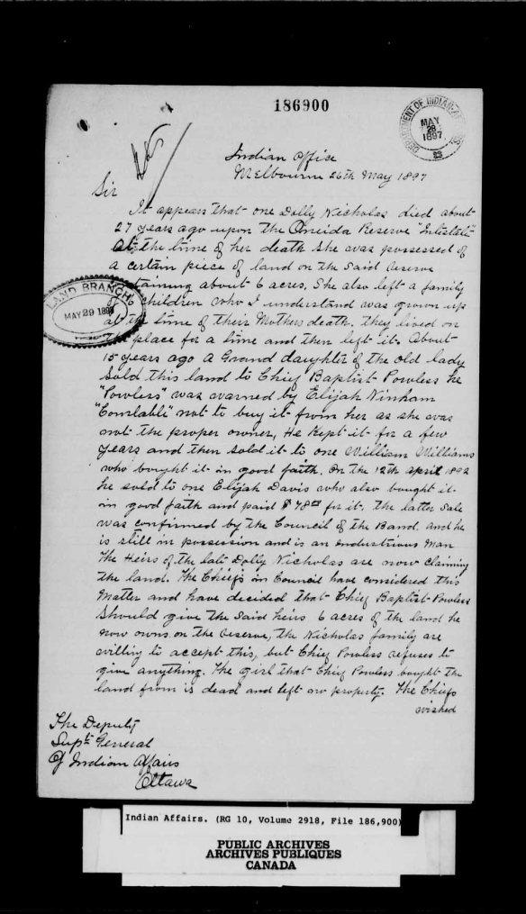 Une page blanche portant du texte manuscrit noir.