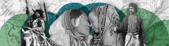 À la gauche de l'image, Tatânga Mânî (le chef Walking Buffalo, aussi appelé George McLean) est à cheval dans une tenue cérémonielle traditionnelle. Au centre, Iggi et une fillette font un kunik, une salutation traditionnelle dans la culture inuite. À droite, le guide métis Maxime Marion se tient debout, un fusil à la main. À l'arrière-plan, on aperçoit une carte du Haut et du Bas-Canada et du texte provenant de la collection de la colonie de la Rivière-rouge.