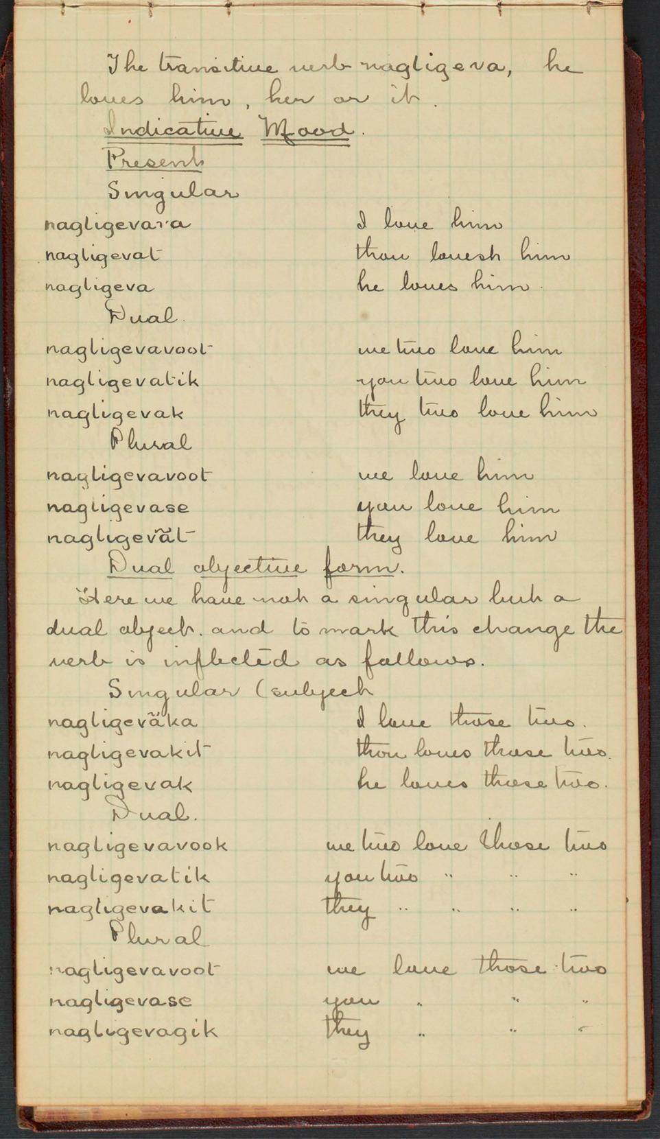 Une page manuscrite d'un carnet notant les conjugaisons en inuktitut du verbe aimer.