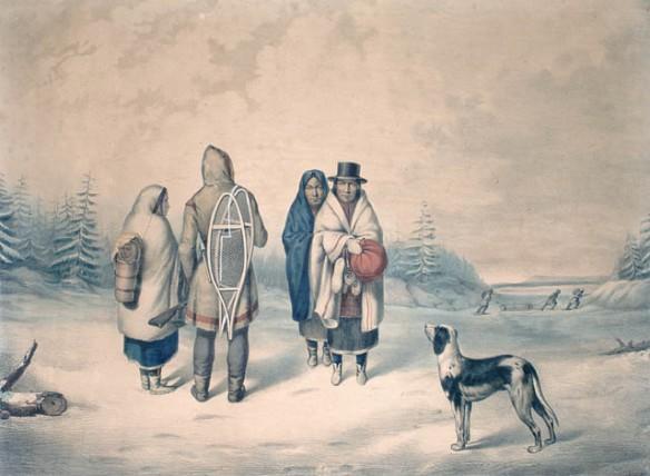 Lithographie en couleur représentant un homme des Premières Nations vêtu d'une capote et d'une couverture, trois femmes et un chien en hiver.