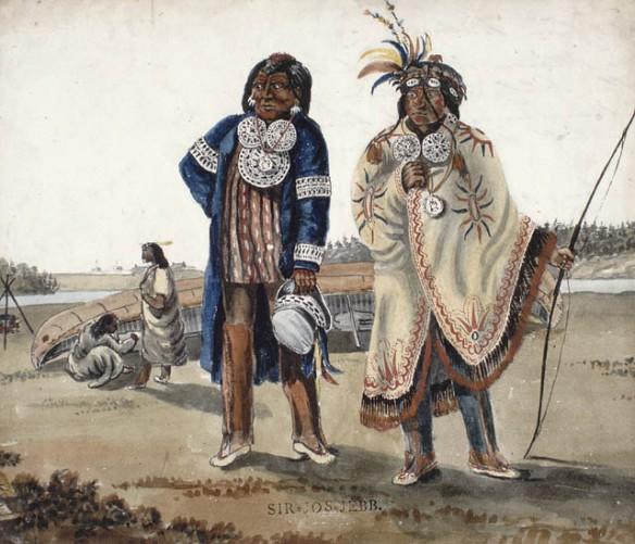 Une aquarelle sur crayon représentant deux hommes des Premières Nations en costume d'apparat qui se tiennent debout devant une rivière et un canot monté sur la rive.