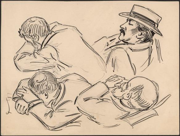 Esquisse noir et blanc de quatre hommes dormant dans diverses positions.