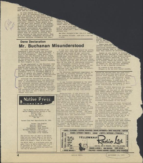 Un exemple de coupure de journal recueillie par le commissaire Barber dans des médias locaux.
