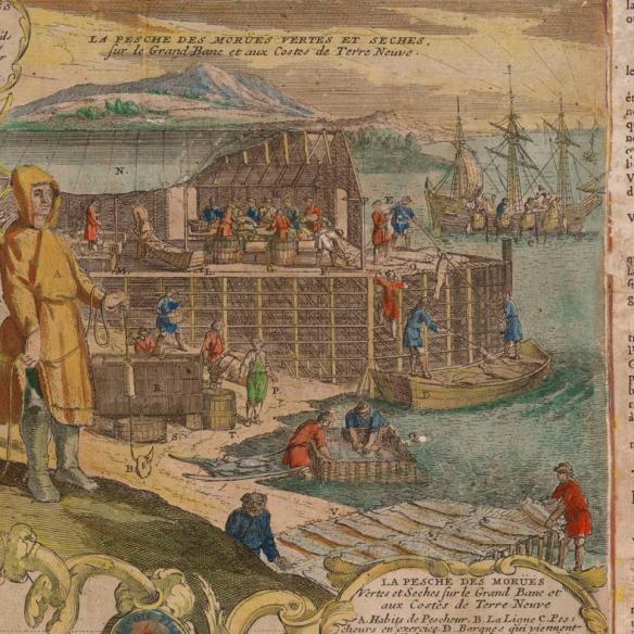 Une illustration en couleur, faite à la main qui montre la rive avec des personnes sur un échafaud en bois qui travaillent à nettoyer et à sécher la morue à Terre-Neuve.