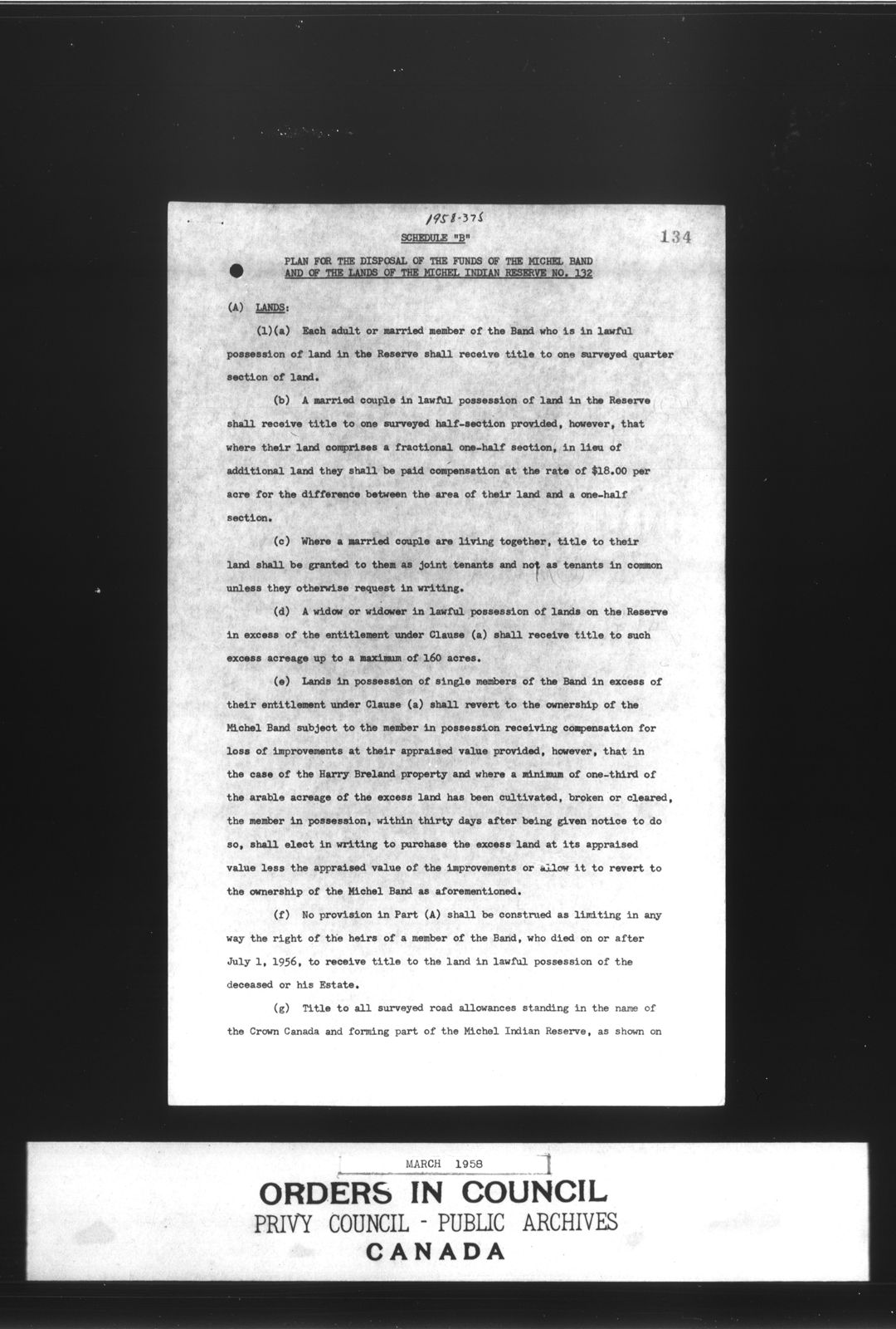 Texte dactylographié en noir et blanc décrivant l'affectation des fonds de la bande de Michel et des terres de la réserve indienne de Michel n° 132.