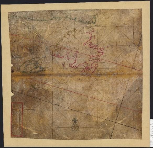 Carte marine sur papier vélin, à l'encre de couleur, montrant le littoral de Terre-Neuve, l'Acadie et le golfe du Saint-Laurent.