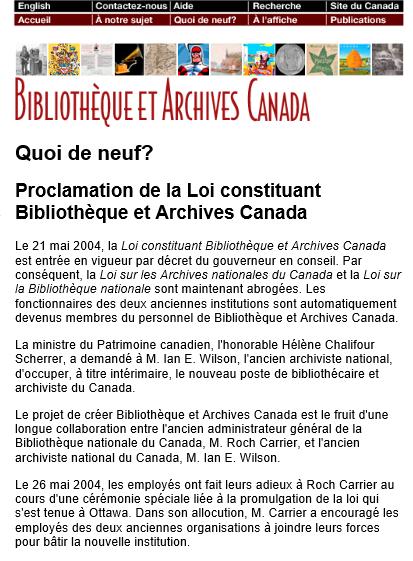 Capture d'écran du site Web de BAC avec « Bibliothèque et Archives Canada » écrit en rouge en haut de l'écran, suivi du titre « Quoi de neuf? Proclamation de la Loi constituant Bibliothèque et Archives Canada ».