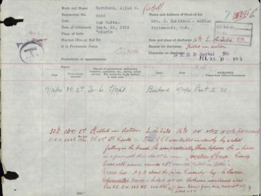 Une page du dossier de service de « Scotty » Davidson décrivant sa mort au combat, causée par un obus tombé dans une tranchée, et détaillant son enterrement avec trois autres hommes du 2e Bataillon.