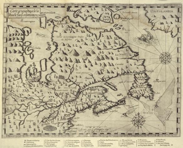 Carte noir et blanc dessinée à la main illustrant le Québec, les provinces des Maritimes et l'est de l'Ontario en 1613.