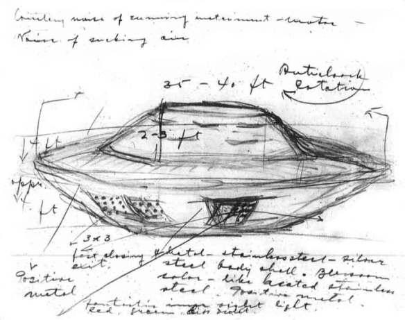 Dessin en noir et blanc d'un engin qui ressemble à une soucoupe volante. De nombreuses notes, mesures et dimensions sont également indiqués.