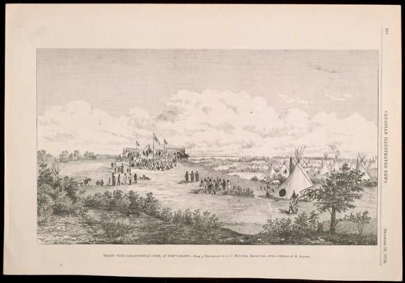 Illustration en grisaille d'un coteau où sont plantés une tente et des drapeaux, de soldats à cheval, de gens d'une Première Nation, de nombreux tipis s'élevant dans une vallée et d'un chariot. L'image est encadrée par des arbres au premier plan et des nuages en arrière-plan. Les mots « Canadian Illustrated News » [Nouvelles illustrées du Canada] et « December 16, 1876 » [16 décembre 1876] apparaissent sur le côté de l'image.