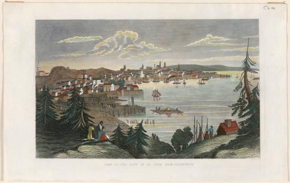 Impression couleur d'une gravure qui représente la ville de Saint John, au Nouveau-Brunswick, avec des voiliers dans le port et quelques personnes au premier plan.