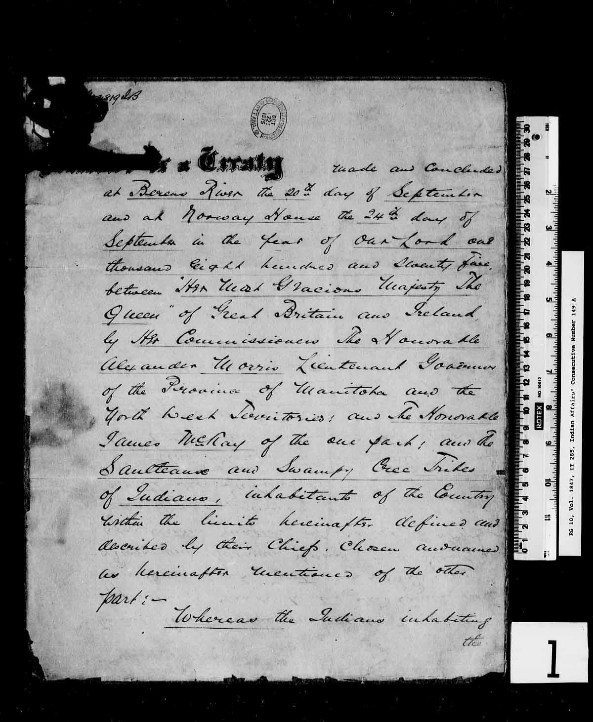 Une page manuscrite qui comprend le lieu, la date, les parties, les signataires et une partie du texte du Traité nᵒ 5 de l'Ouest.
