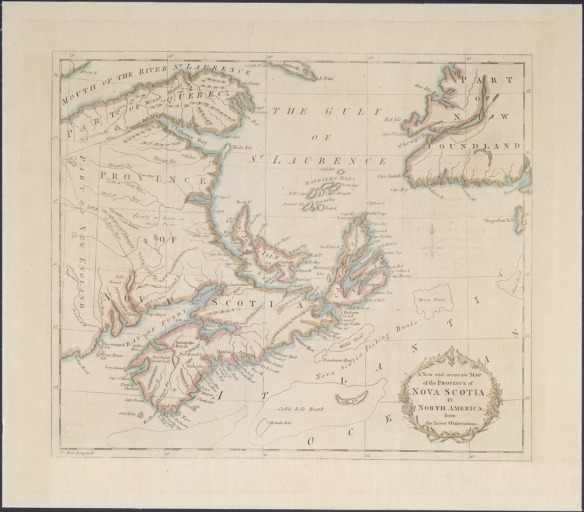 Impression d'une carte de la Nouvelle-Écosse colorée à la main et datant de 1781. On y voit le golfe du Saint-Laurent et la région qu'occupent actuellement la Nouvelle-Écosse, le Nouveau-Brunswick, l'Île-du-Prince-Édouard, la Gaspésie et la partie sud-ouest de Terre-Neuve-et-Labrador.