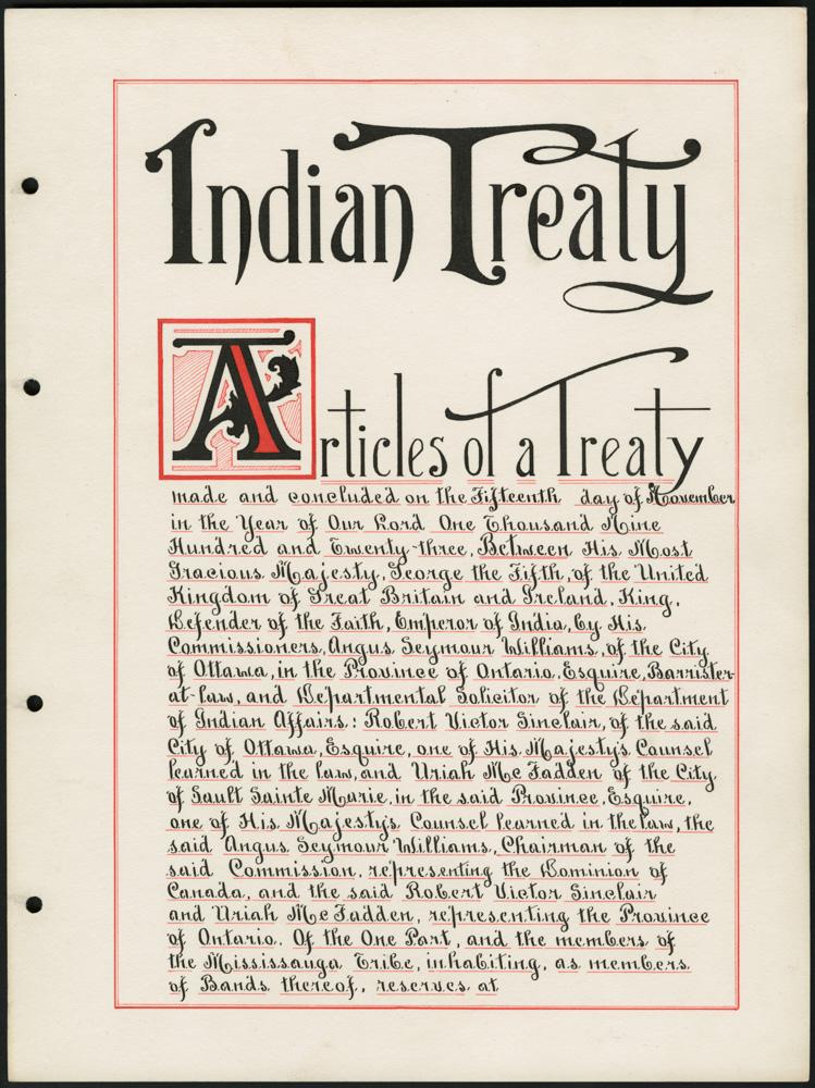 Une page manuscrite à l'encre noire avec lettrine et bordures en rouge, titrée « Indian Treaty » (Traité avec les Indiens), qui comprend la date, les parties prenantes et les signataires.