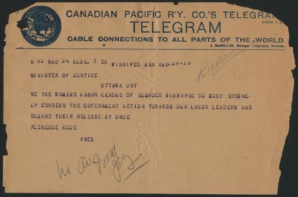 Télégramme daté du 29 août 1919 de la Women's Labor League d'Elmwood, à Winnipeg, au ministre de la Justice condamnant les gestes du gouvernement à l'égard des chefs de grève et demandant leur libération.
